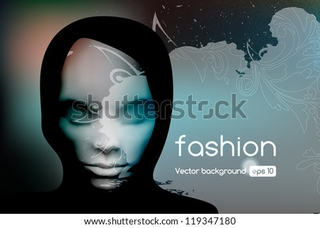 Stylish abstract fashion background, with woman portrait. Vector illustration.