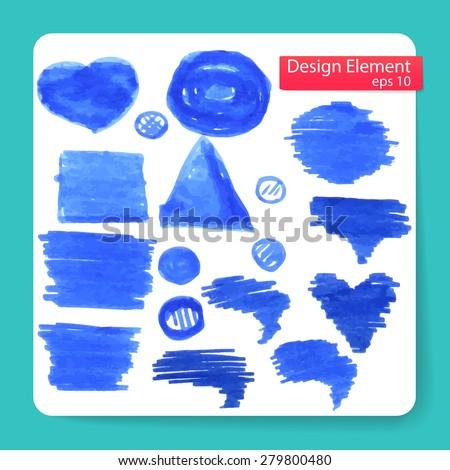 stylish abstract figure marker, set. Vector illustration  - stock vector