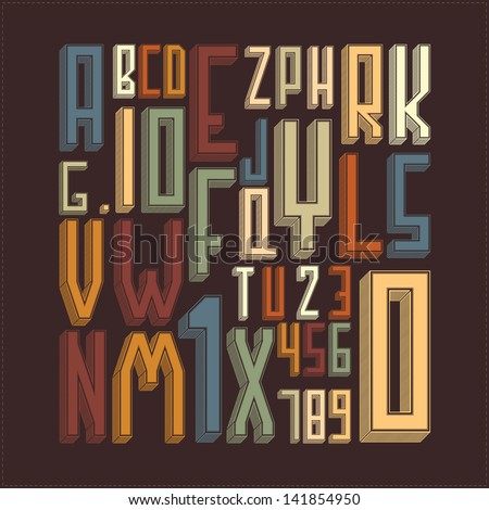 Stylish alphabet. vector illustration - stock vector