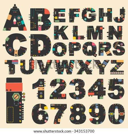 Stylish alphabet. vector illustration - stock vector