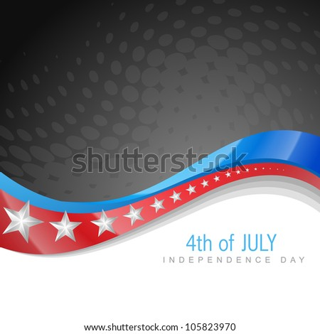 stylish american independence day wave art - stock vector