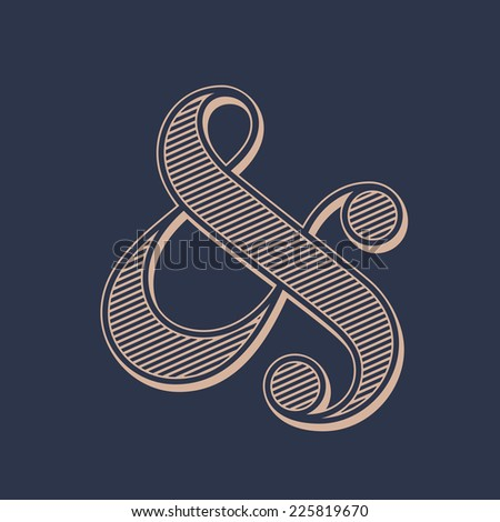 Stylish ampersand symbol on dark background. Vector illustration - stock vector