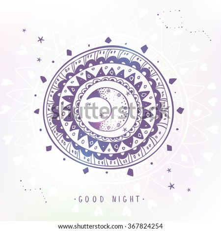 Stylish and beautiful stylized ethnic ornament with moon and sample text - good night. Vector illustration - stock vector