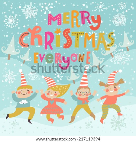 Stylish and bright Merry Christmas card in vector. Funny Elves dancing under the snowfall. Cute holiday background with boys and girls  - stock vector