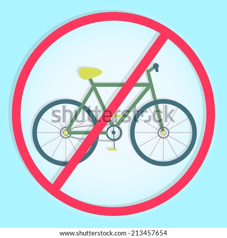"""Stylish and colorful """"no bicycle sign"""". Colorful symbol prohibiting bicycles - stock vector"""