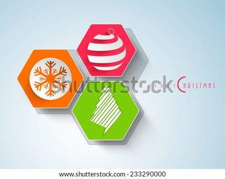 Stylish and colorful stickers decorated with snowflake, X-mas ball and tree for Merry Christmas celebrations. - stock vector