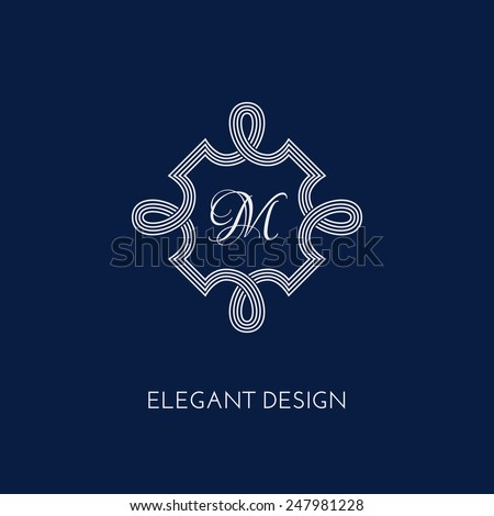 Stylish and elegant monogram design template. Vector illustration. - stock vector