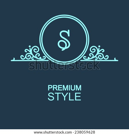 Stylish and graceful floral monogram design , Elegant line art logo design, vector template - stock vector