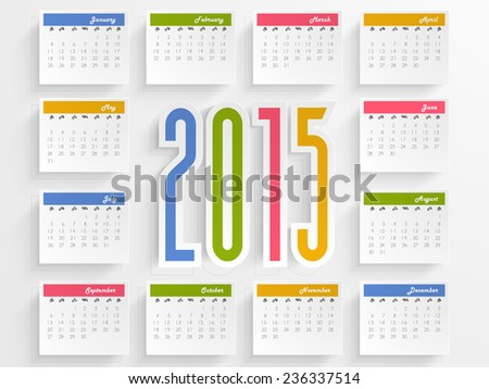 Stylish annual calendar with colorful text 2015 for Happy New Year celebrations. - stock vector