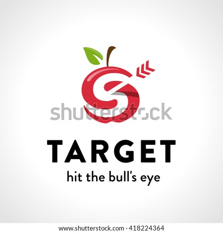 Stylish Apple Target with Arrow Graphic Symbol. Original Logo. Vector Illustration. Represents the Concept of Success, Achievement, Prevail, Great Solution etc. - stock vector