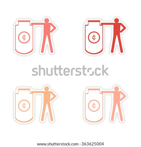 Stylish assembly sticker on paper people and capital - stock vector