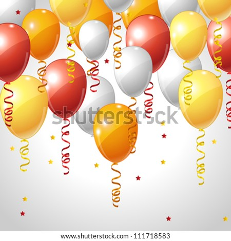 Stylish background with flying balloons and serpentine.