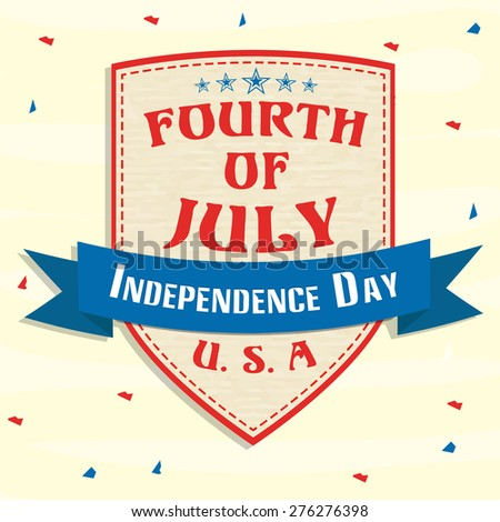 Stylish badge in red, blue and brown color for fourth of July, American Independence Day celebrations.  - stock vector
