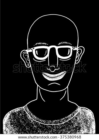 Stylish bald man - stock vector