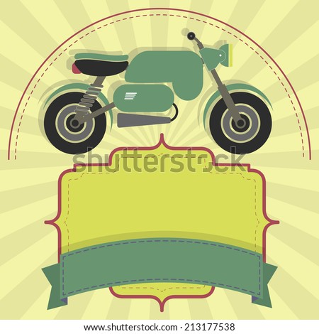 Stylish banner motorcycle with label and ribbon for insert text. Copy space. Banner motorcycle - stock vector