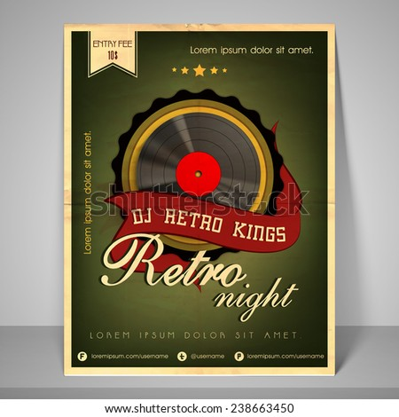 Stylish banner or flyer for retro night party with address bar, place holder and mailer. - stock vector