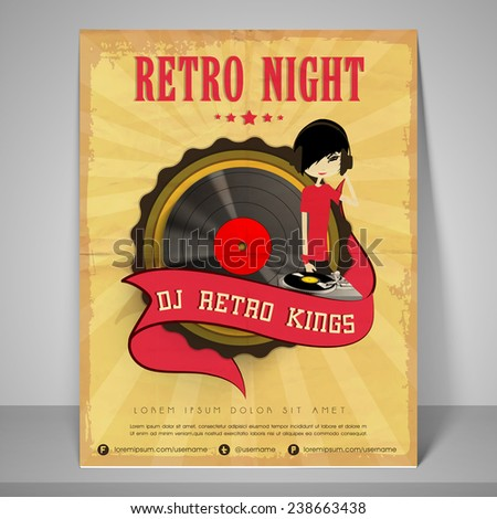 Stylish  banner or flyer for retro night with address bar and mailer. - stock vector