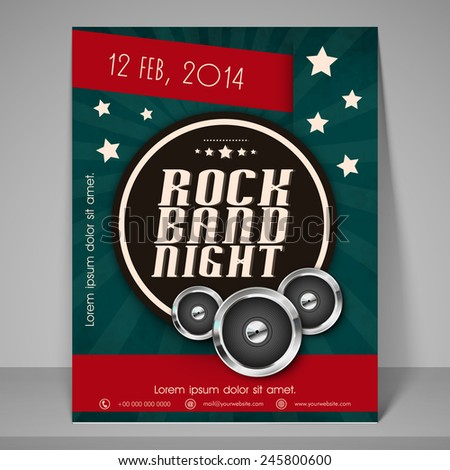 Stylish banner or flyer for rock band night party. - stock vector