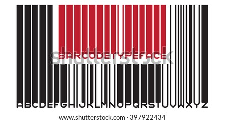 Stylish barcode typeface font. Stripped letters of barcode scanning.