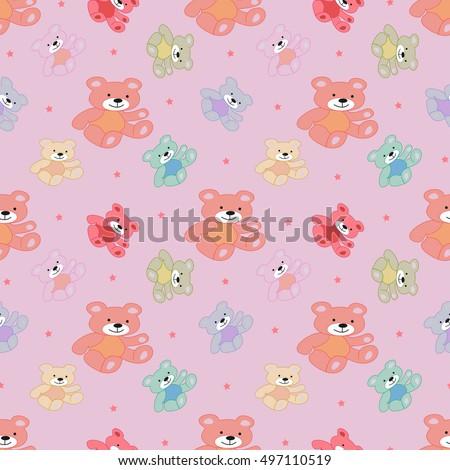 Stylish Beautiful Baby Seamless Pattern Teddy Stock Vector ...
