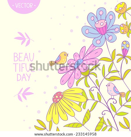 Stylish beautiful floral card with cute birds - stock vector