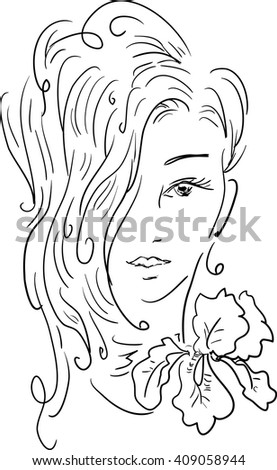 Stylish beautiful model for fashion design. Hand-drawn graphic illustration. Portrait of pretty girl with iris on her neck. Sketch drawing, elegant vector style. - stock vector