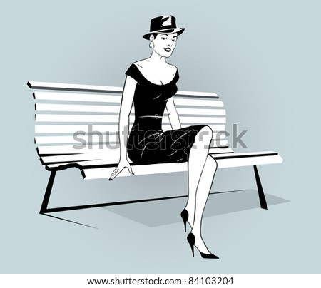 stylish beautiful young woman in a hat sitting on a bench - stock vector