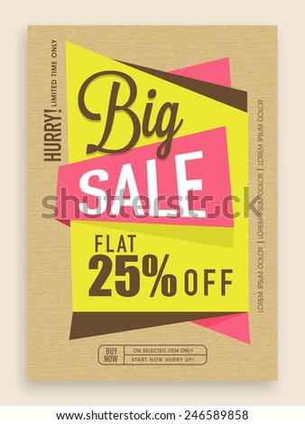 Stylish big sale flyer, banner or template design. - stock vector