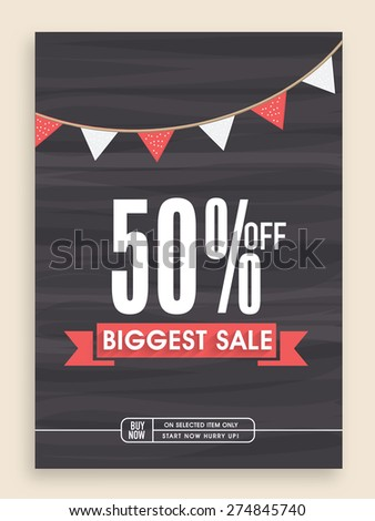 Stylish Biggest Sale poster, banner or flyer design with discount offer. - stock vector