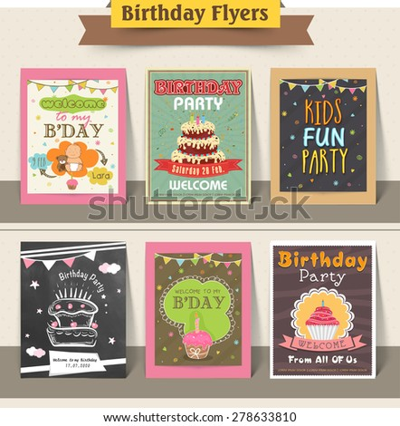 Stylish birthday party flyers collection decorated with sweet cakes and cupcakes. - stock vector