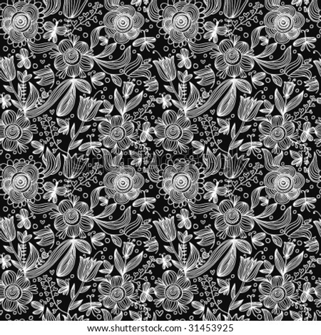 Stylish black and white floral seamless pattern in vector - stock vector