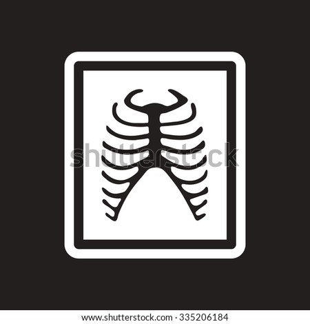 stylish black and white icon X-rays of ribs - stock vector