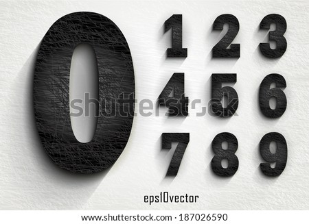 stylish black squared shabby numerals. Zero 0 One 1 Two 2 Three 3 Four 4 Five 5 Six 6 Seven 7 eight 8 nine 9. The rest of letters, symbols and numbers of the alphabet in my portfolio. - stock vector