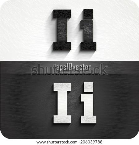 "stylish black, white squared shabby alphabet letters. Uppercase letter ""I"" and Lowercase letter ""i"". eps10. The rest of uppercase and lowercase letters, and symbols of the alphabet in my portfolio. - stock vector"