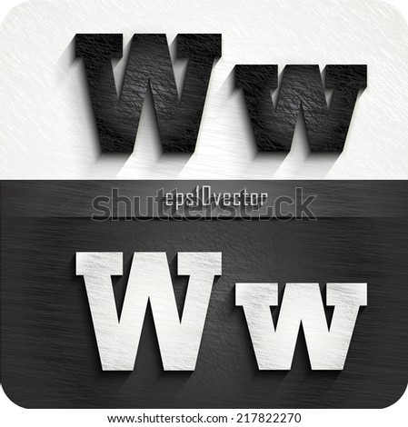 """stylish black, white squared shabby alphabet letters. Uppercase letter """"W"""" and Lowercase letter """"w"""". eps10. The rest of uppercase and lowercase letters and numbers of the alphabet in my portfolio. - stock vector"""