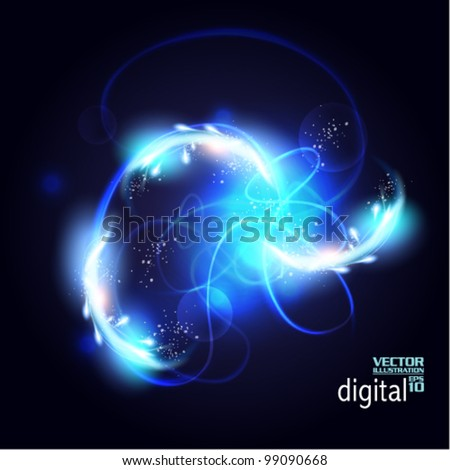 stylish blue smoke digital flare design - stock vector