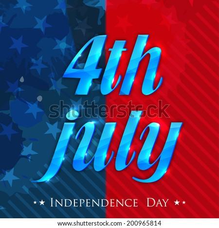 Stylish blue 4th July on red and blue stars decorated background for American Independence Day celebrations.  - stock vector