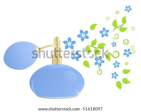 Stylish bottle perfume with floral composition (Fragrance of spring) - stock vector