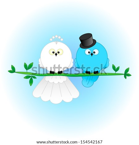 Stylish Bride and Groom Birds. Cartoon characters for wedding invitations, cards, etc