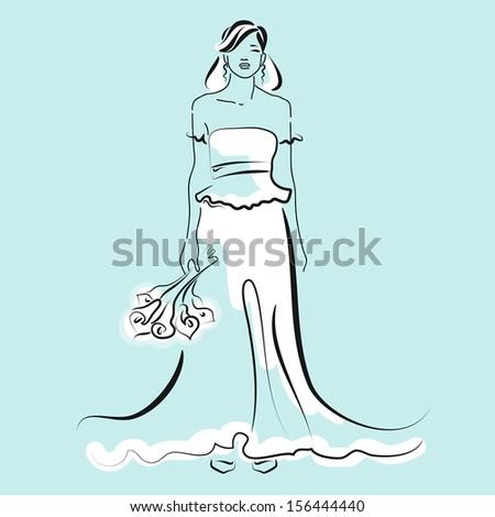Stylish Bride Fashionable Long Wedding Dress Stock Vector 156444440 ...