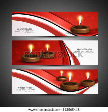 stylish bright colorful set of diwali headers vector - stock vector
