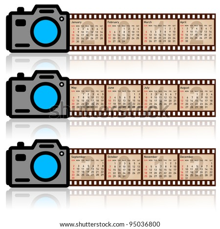 Stylish calendar  for 2012. Camera with  35mm film. Sundays first. Rasterized version also available in portfolio. - stock vector