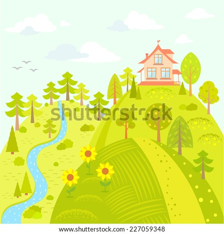 Stylish card with beautiful house on the hill in cartoon style