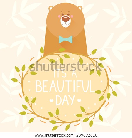 Stylish card with branch wreath and cartoon funny bear with place for text. Vector illustration - stock vector