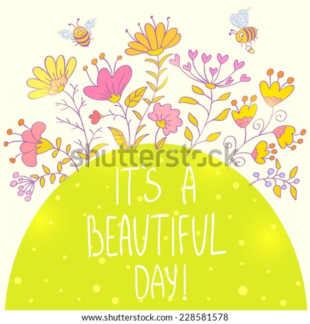 Stylish card with cartoon beautiful and funny bees and flowers with sample text - stock vector