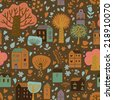 Stylish cartoon urban seamless pattern. Beautiful houses and trees on bright background in vector. Seamless pattern can be used for wallpaper, pattern fills, web page background, surface textures. - stock vector