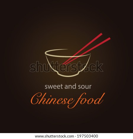 Stylish Chinese Food Design Background ( chinese noodle bowl with chopsticks) -  Can be used  Food Menu Cover  - stock vector