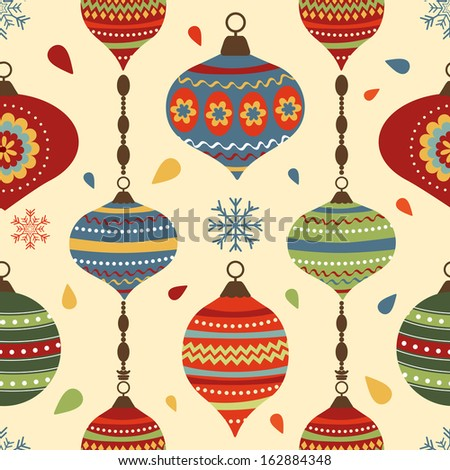 Stylish Christmas seamless pattern with Christmas decorative elements - stock vector