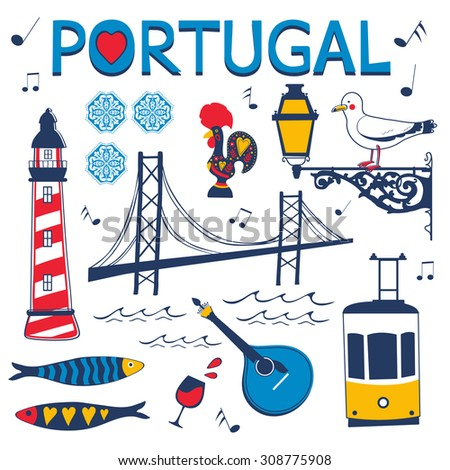 Stylish collection of typical Portuguese icons. Vector illustration - stock vector