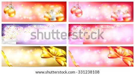 Stylish Colorful and romantic abstract magic Christmas night celebration with present box, balls, ribbon, light and sales ornament banner badge background, create by vector